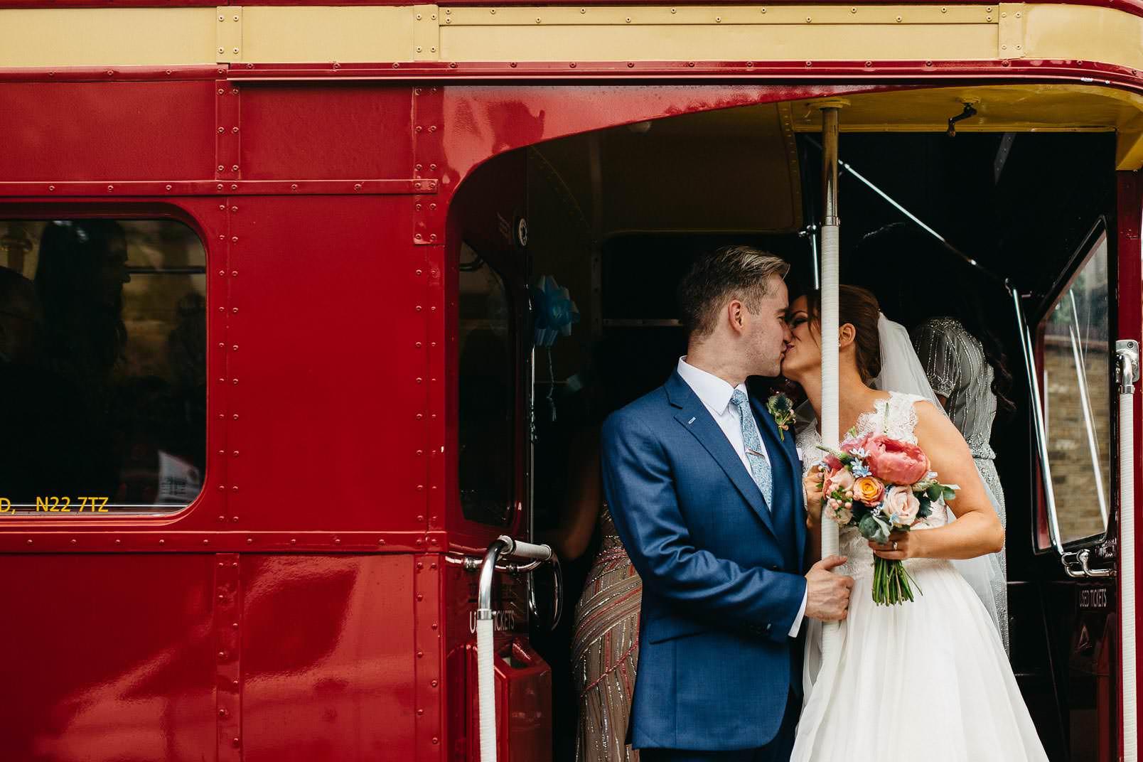 kiss in wedding bus