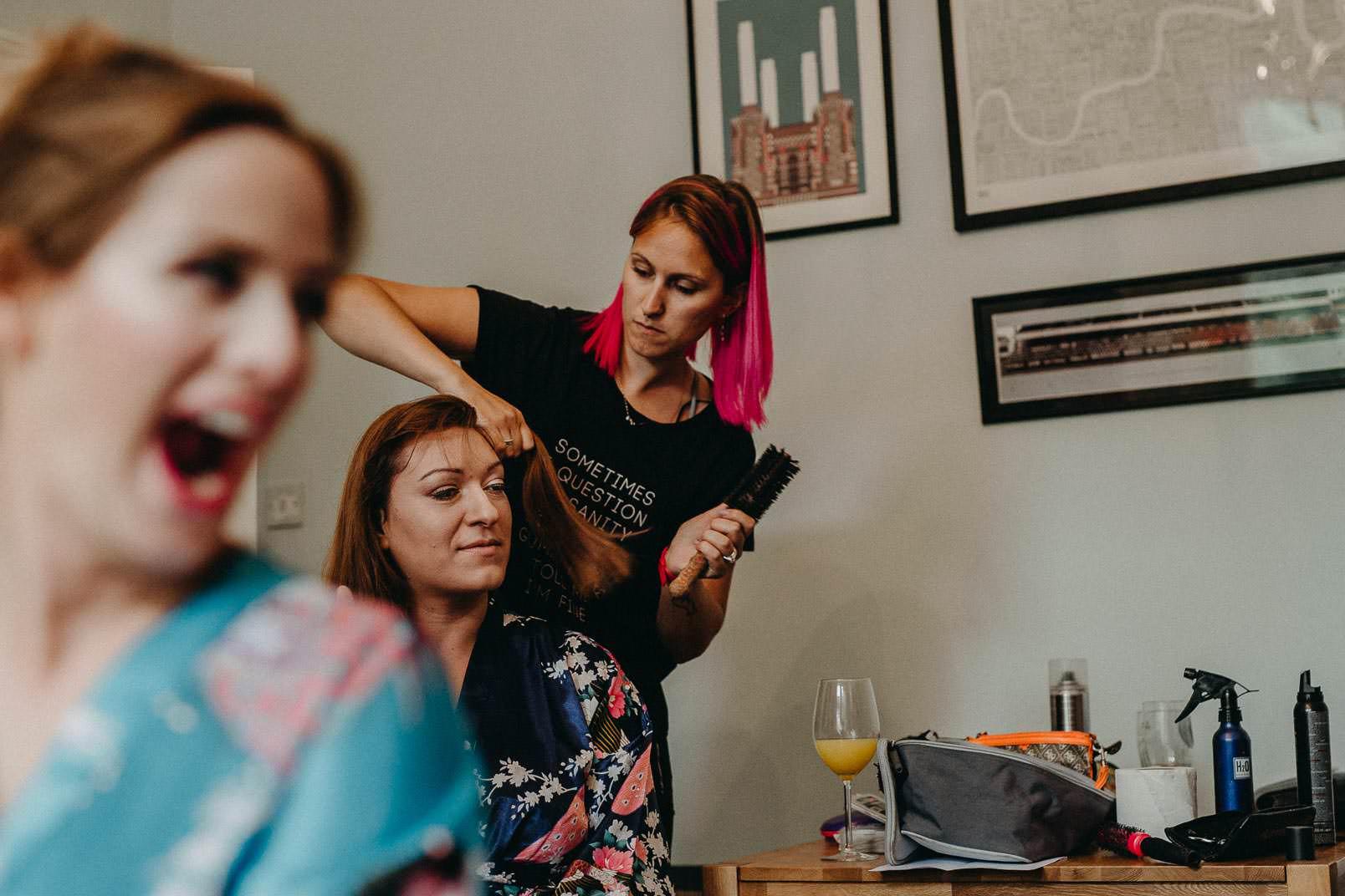 hairdresser doing hair