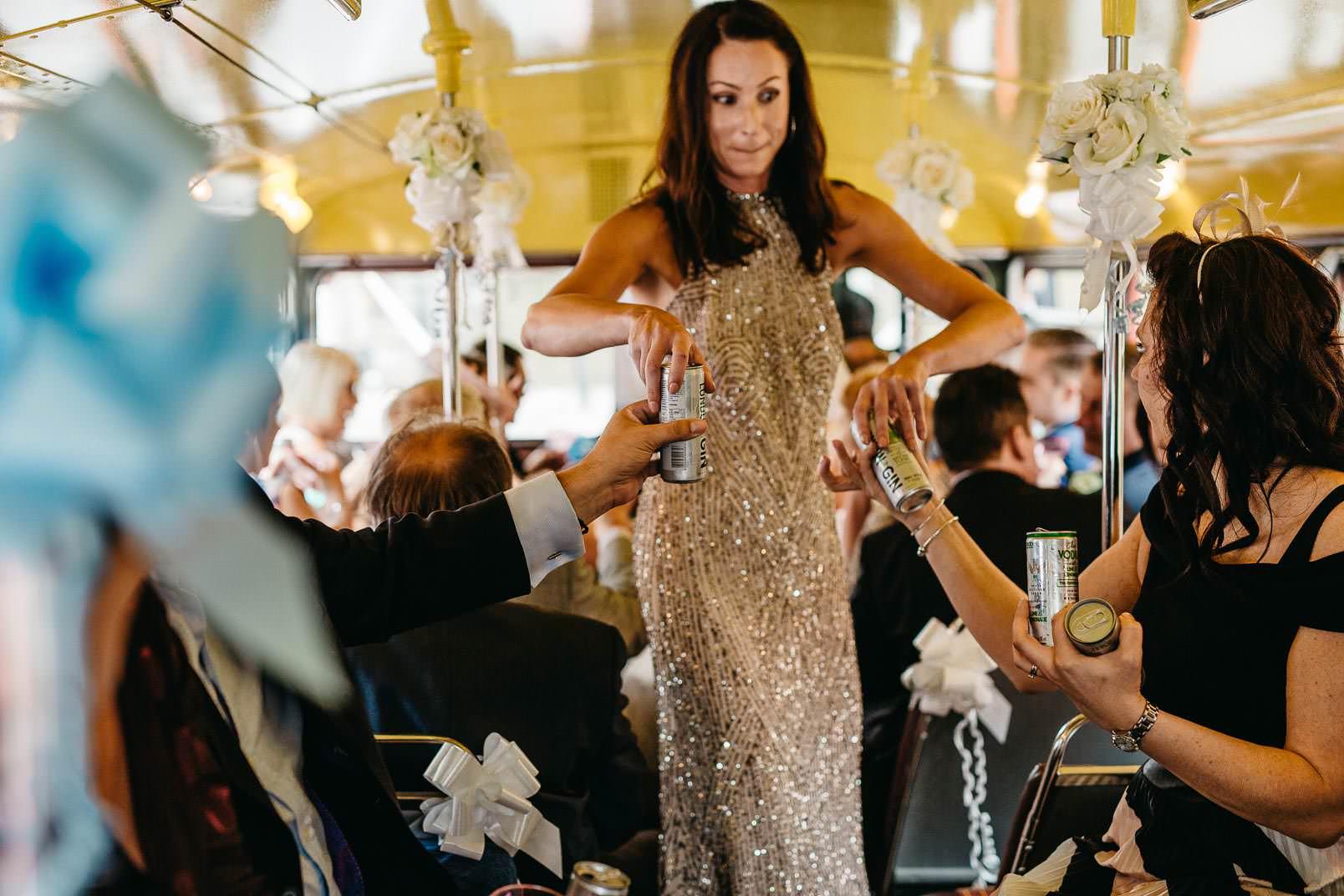 guests wedding bus
