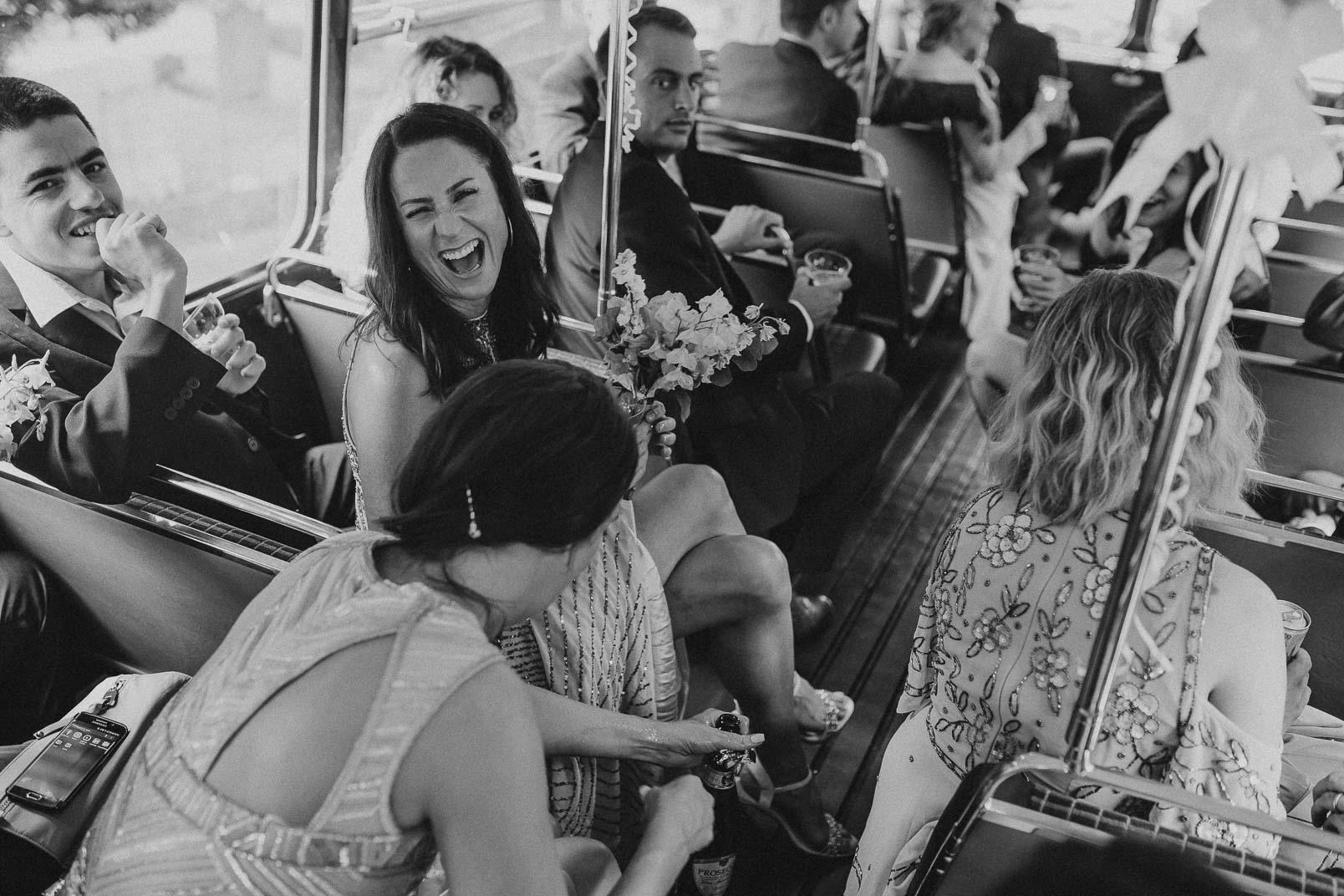 laugh wedding bus