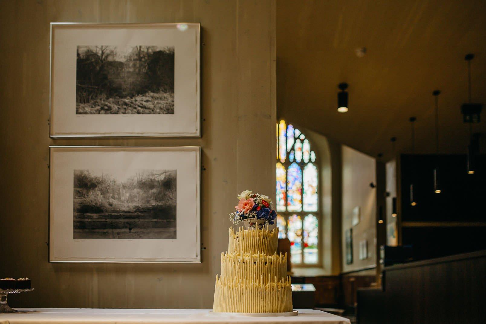 wedding cake in garden museum