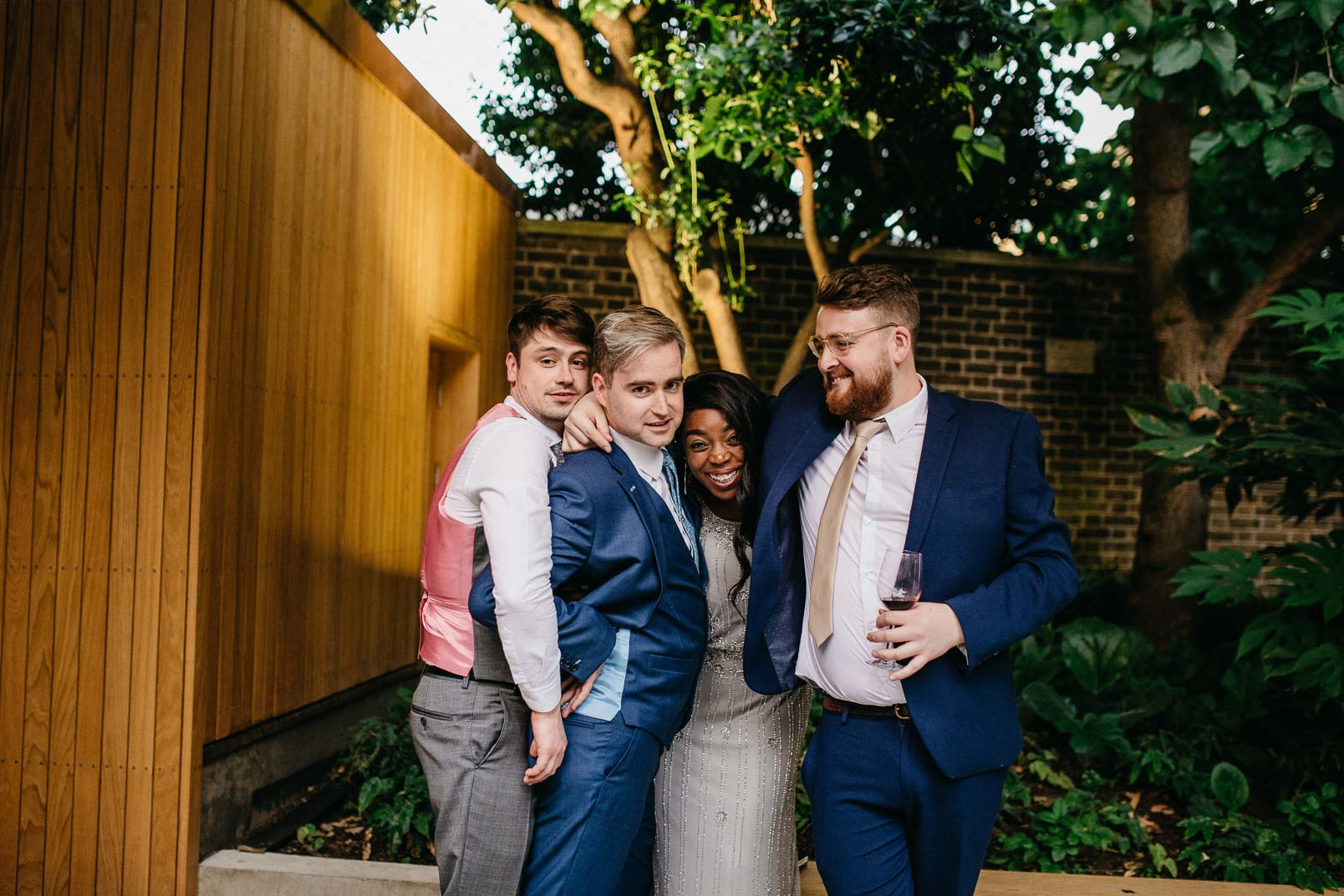 wedding guests at garden museum