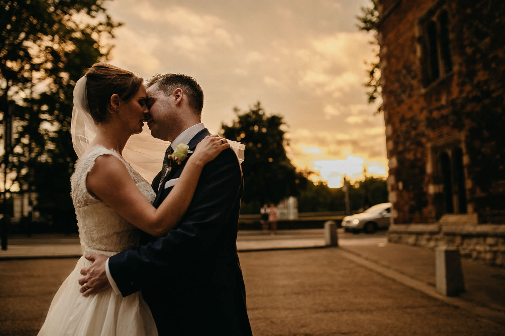 bride and groom portrait with westminister and big ben