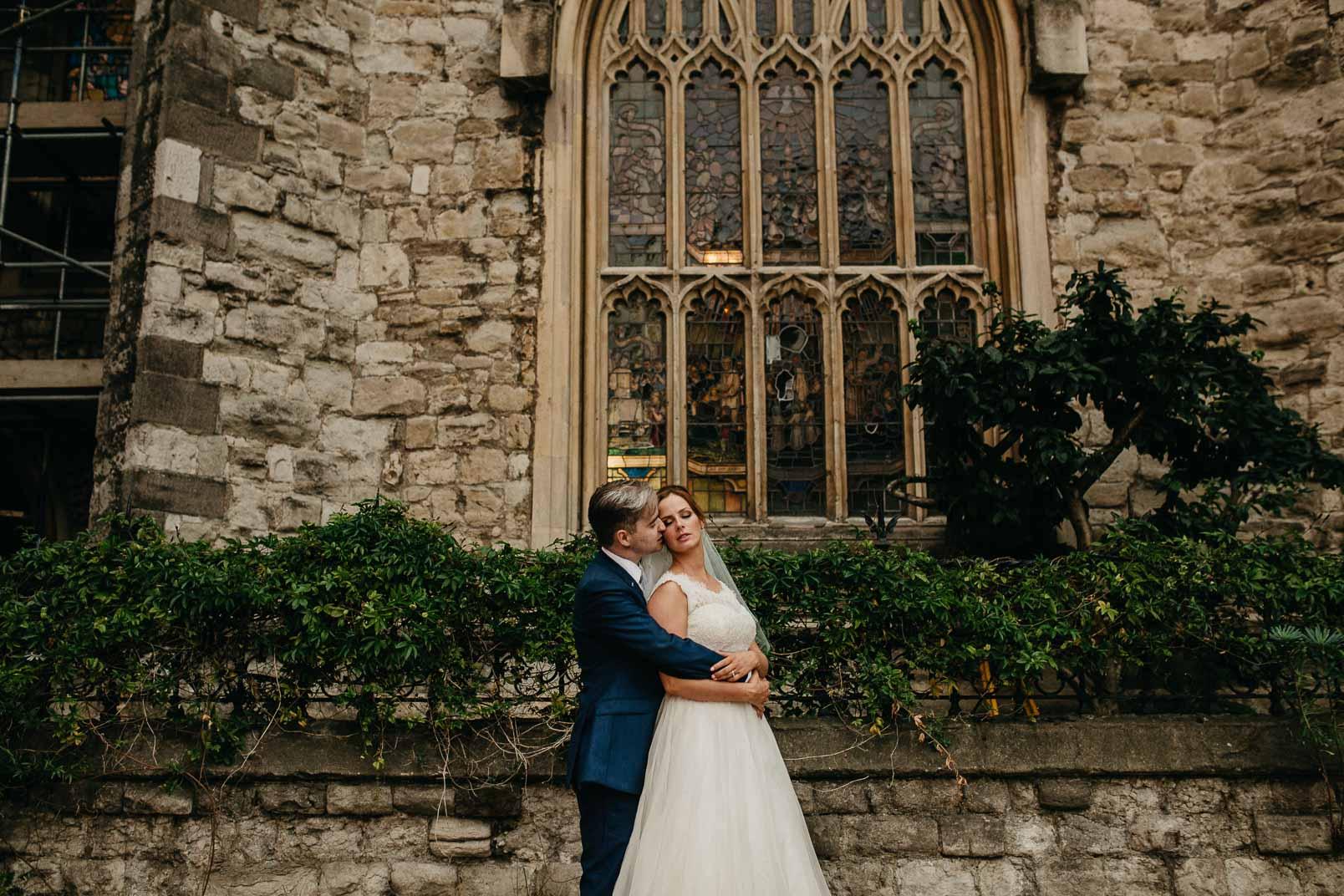 bride and groom portrait at garden museum golden hour