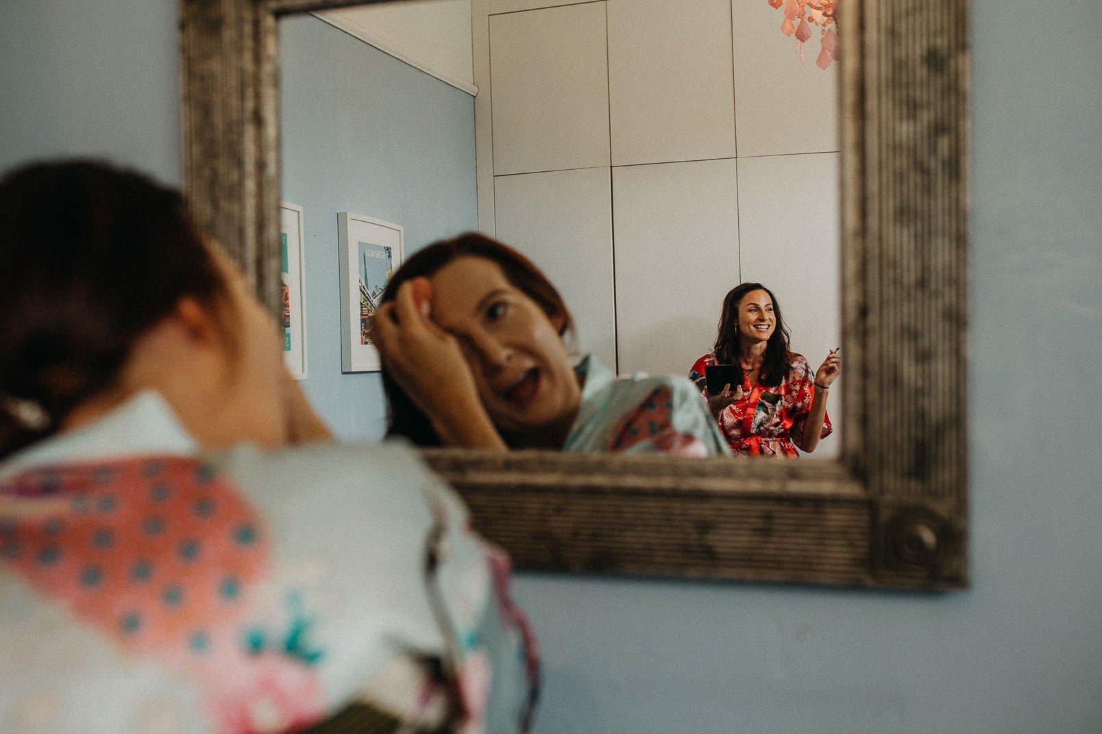 brides maid in mirror