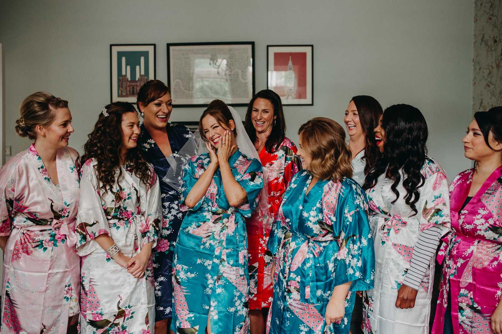 happy portrait of bride and bridesmaids